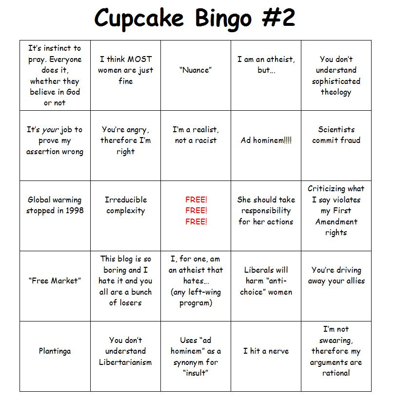 CUPCAKE BINGO CARD -two