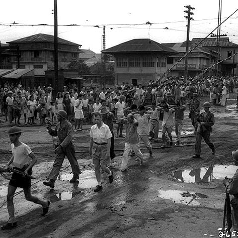 Blumentritt & Rizal Ave crossing 1945, note the Signal Box with Boom Gates, Semaphore tower and tram tracks