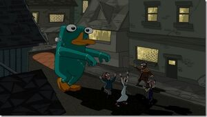 Platypus monster walking through town