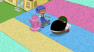 Baljeet just about to hit the foam fire hydrant