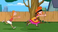 Candace chases blindfolded Linda