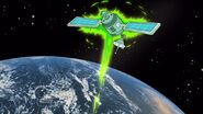 The Combine-inator ray hits the satellite