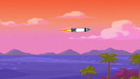 Rocket lighthouse in flight