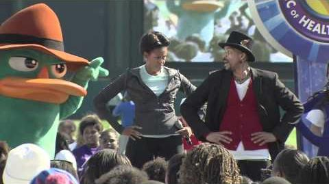 Michelle Obama does Platypus Walk dance with Disney Channel stars and Perry