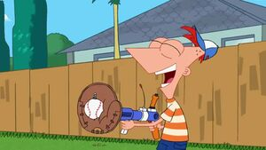 Phineas catches the baseball