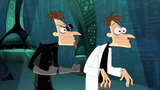 Both Doofenshmirtzes noticed Perry the Platypus captured by a Normbot