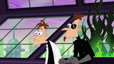 Doofenshmirtz looks surprised after Perry put his fedora to reveal his true identity