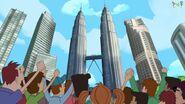 The gang atop the bridge in the Petronas Twin Towers in Malaysia