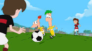 Ferb plays Football