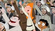 Candace, Buford and Baljeet cheer Rebel, Let's Go again