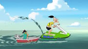 Doofenshmirtz riding a jet ski