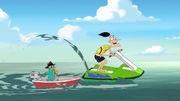 Doofenshmirtz riding a jet ski