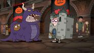 Irving raises the drawbridge on his costume