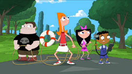 Candace and the gang about to rescue Phineas and Ferb