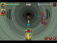 Spider-Man swings away