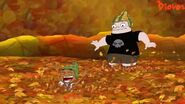 Buford and Baljeet in leaves