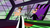 The original Doofenshmirtz still shocked and surprised at Perry the Platyborg as 2nd Dimension Doof's general