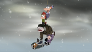 Phineas and gang dangling from rope 2