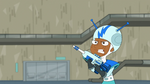 A speckie holding a space blaster gun