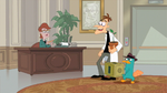 Doof and Perry at Reception Desk