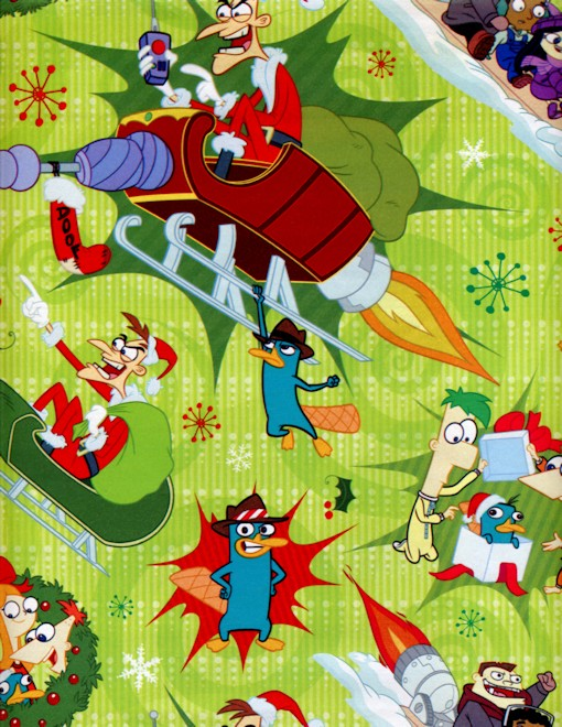 Image - Phineas and Ferb Christmas wrapping paper 2013 - green.jpg ...