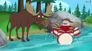 Buford singing to a moose