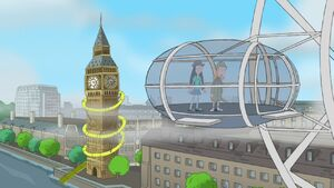 Candace and Stacy riding the London Eye