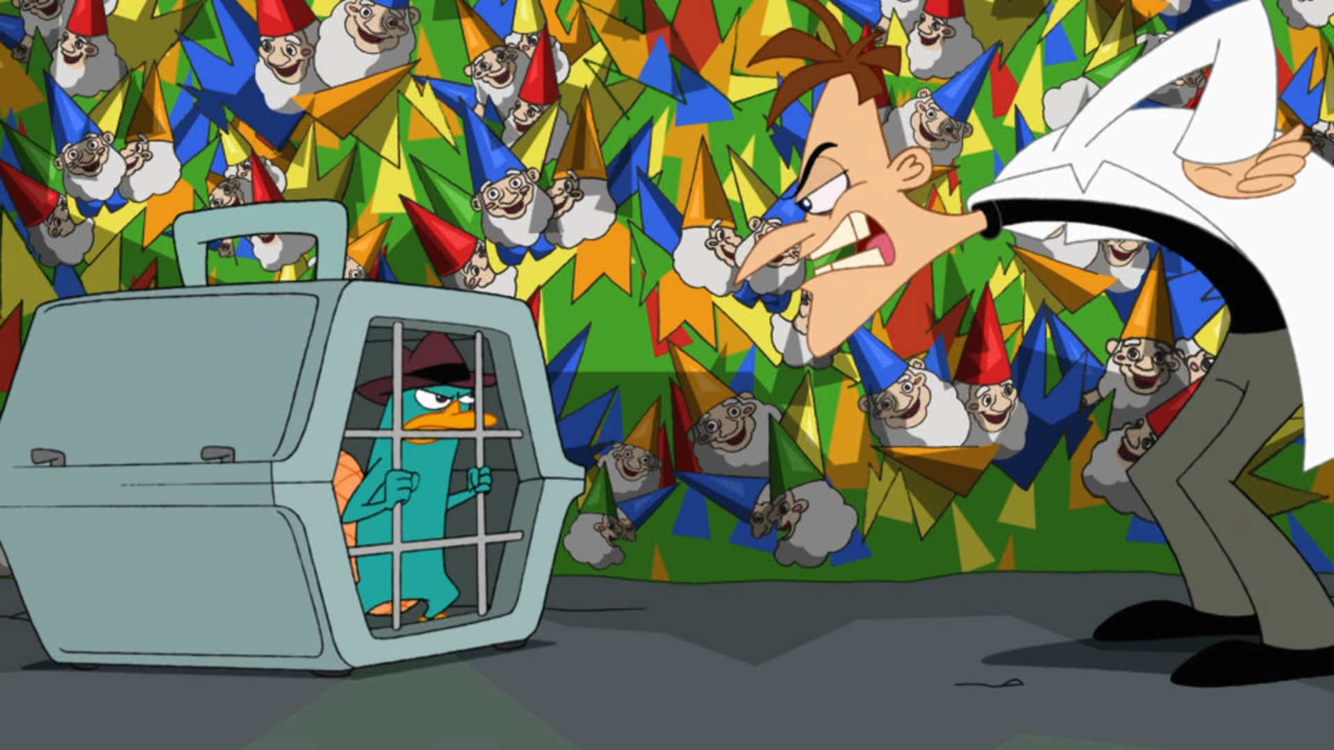 image perry trapped in pet carrier cage jpg phineas and ferb