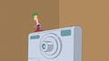 Ferb juped in a button of a camera