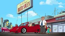 Doofenshmirtz trying out a red sportscar