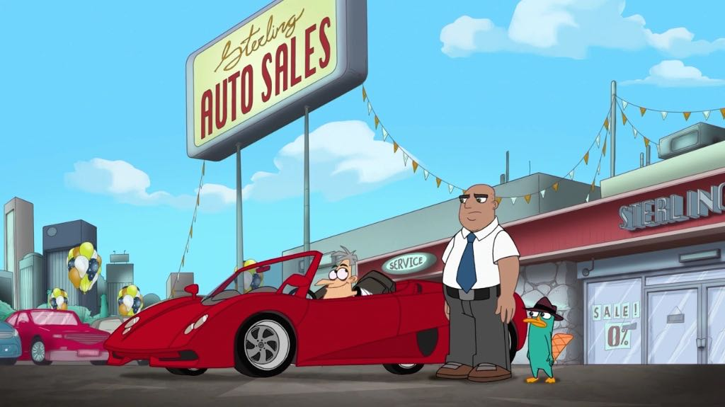 Doofenshmirtz trying out a red sportscar