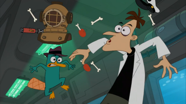 File:Doofenshmirtz and Perry's reaction after his device gets hit by Nosey.png