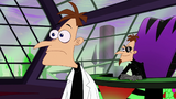 Doofenshmirtz looks surprised at 2nd Dimension Doof's Perry the Platypus creation