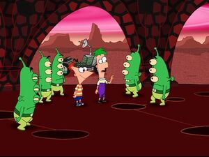 Ferb talking to the Martians