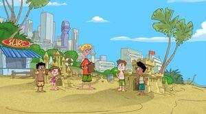 Jeremy judging the sandcastles