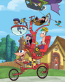 Phineas and Ferb Promotional Art Wierd Bicycle by Anthony Vukojevich