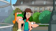 Phineas and Ferb walk past Candace and Stacy