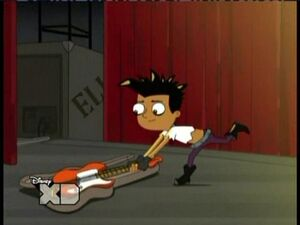 Baljeet puts his guitar away