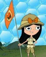 Izzy with fireside flag