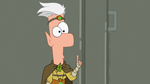 Ferb closes his mouth and still has his finger raised