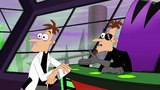 Doofenshmirtz turns his head to look at 2nd Dimension Doofenshmirtz's creation