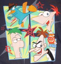 Agent P, Phineas, Ferb and Heinz four-panel action t-shirt