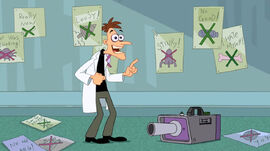 Doof realize that he can do something with the fog machine