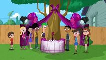 Fireside Girls, Ferb and Baljeet admire their romantic dinner