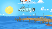 The Submarine is Lowered Into the Water
