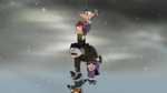 Phineas and the gang dangling from rope