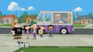 Candace sneaking behind the ice cream truck while the gang orders