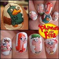 Phineas and ferb nails, by JawsOfKita-LoveHim