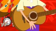 Ferb passing by while playing guitar