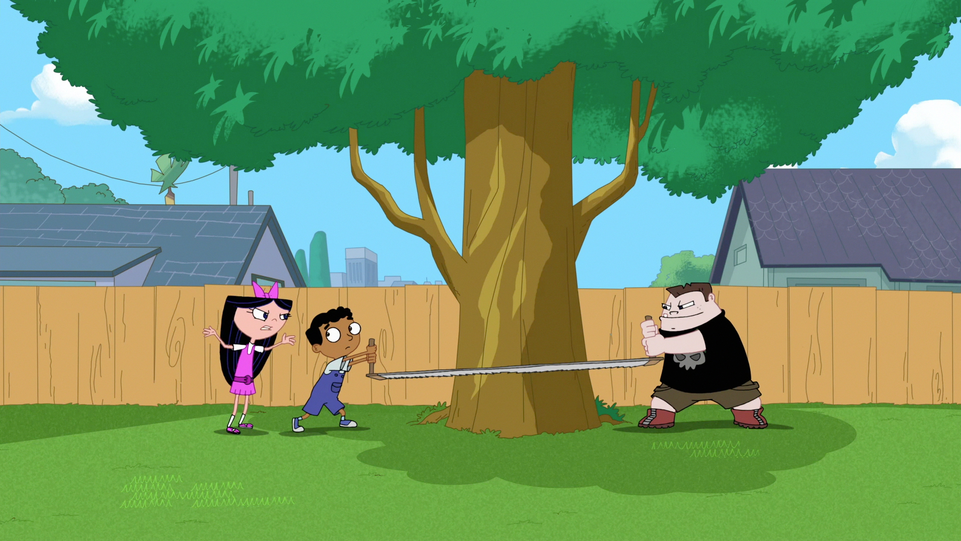 image 319b cutting down the tree jpg phineas and ferb wiki